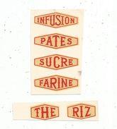 étiquettes : Thé , Sucre , Infusion , Pates , Sucre , Farine , Decalcomanies , 2 Scans - Etiquettes