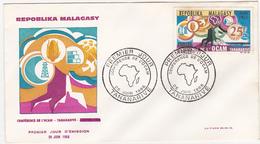 1966 / TANANARIVE / REPOBLIKA MALAGASY / FDC / CONFERENCE DE L'OCAM / Timbre 25 F - Madagascar (1960-...)