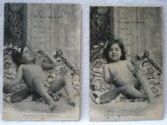 2 Anciennes Cartes Postale LE GROS GOURMAND / Enfant Buvant Du Vin - Cartes Humoristiques