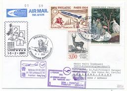 Enveloppe Cachet Temp 67 Strasbourg Marseillaise - 1er Vol Lufthansa BONN => FRANCFORT => HONG KONG - 9/01/2001 - First Flight Covers