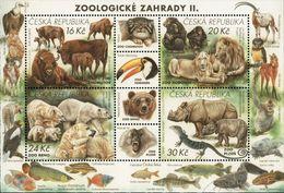 Czech Republic 2017 Zoo Bears Rhinoceros Birds Felines Lizards Monkeys Fishes Minisheet MNH - Rhinozerosse