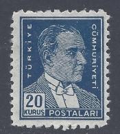 TUKEY 1950  ATATURK 20K BLUE Nº 1118 - 1921-... Republik