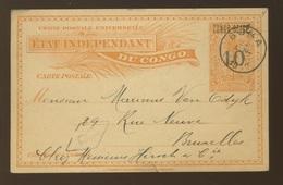 Carte Palmier + Chiffre 10 Sur 15c Et CONGO BELGE Surcharge Main  Circulée BOMA Vers Bruxelles  24 Avril 1910 - Ganzsachen