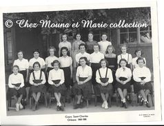 ORLEANS - ECOLE COURS ST SAINT CHARLES 1949 1950 - PHOTO DE CLASSE DE JEUNES FILLES - LOIRET - TOURTE PETITIN 24 X 18 CM - Personnes Anonymes