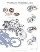 Feuillet D'Art Frappé Or Fin 23 Carats - FDC - ANCIENNES MOTOS BELGES - Timbres N°2615/18 - Deluxe Panes