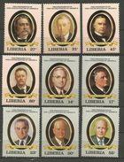 Liberia - 1982 US Presidents 9 Values MNH **  Sc - Liberia