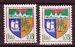France 1354A Variété Impression Décalée Palmiers Blancs Doubles Et Normal Saint Denis Neuf ** TB MNH Sin Charnela - Plaatfouten En Curiosa