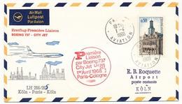 2 Enveloppes Première Liaison Boeing 737 City Jet LH 265/67 Paris Cologne Et Retour - 1er Avril 1968 - First Flight Covers