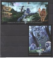 A223 2012 REPUBLIQUE DE GUINEE FAUNA BIRDS ANIMALS DE DISPARITION 1KB+1BL MNH - Timbres