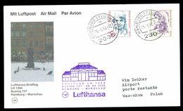 LUFTHANSA * FIRST FLIGHT CARD * 1990 BOEING 737 HAMBURG - WARSAW - Vliegtuigen