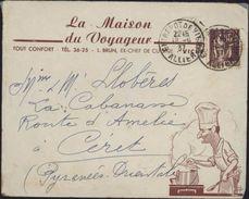 Enveloppe Illustrée La Maison Du Voyageur L Brun Ex Chef Cuisine Vichy  Cuisinier Aux Fourneaux YT 284 Paix  1937 - 1921-1960: Modern Period