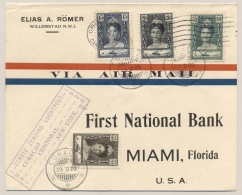 Curacao - 1929 - 4-colore Franking On First PAA Returnflight Cover From Curacao To Miami - Curaçao, Nederlandse Antillen, Aruba
