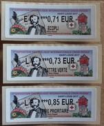 Lis03 Vignettes Lisa Expo Philatél Croix-Rouge Saint-Louis 2017 :  0.71,   0.73,   0.85  (autocollantes / Autoadhésives) - 2010-... Illustrated Franking Labels