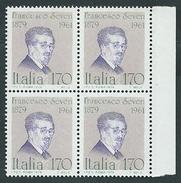 Italia 1979; Personaggi Illustri : Francesco  Severi (1879-1961), Matematico. Quartina Di Bordo. - 6. 1946-.. Repubblica