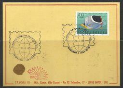 POLONIA POLAND POLSKA 1985 ITALIA 85 ROMA FISH FAUNA PESCE 700z  CARD CARTOLINA - Bourses & Salons De Collections