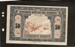 """Maroc Billet De 50  Francs Type 1943 Emission Américaine"""" Spécimen"""" TTB - Maroc"""