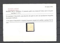 REGNO 1863 10 C. SASSONE T17 * GOMMA ORIGINALE C.SORANI - 1861-78 Victor Emmanuel II