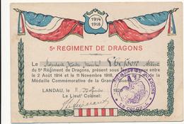 Médaille Commémorative De La Grande Guerre - 5° Régiment De Dragons - Landau, 1920 - WW1 - Documenti Storici