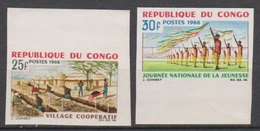 Congo 1966  N°181 / 182  Village Cooperatif Journee Nationale De La Jeunesse  Imperf  ND  MNH - Kongo - Brazzaville