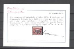 REGNO 1878 SERVIZIO 2 C. SU 0,30 ** MNH  LUSSO C. DIENA - 1861-78 Victor Emmanuel II