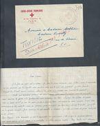 MILITARIA LETTRE EN FRANCHISE MILITAIRE DE LA CROIX ROUGE FRANÇAISE À TUNIS ( TUNISIE ) RUE D ANGLETERRE : - Cartas