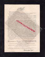 87- LIMOGES-FAIRE PART DECES JULES DUFRAISSEIX-FABRICANT PORCELAINE-M. FAURE-DE BARSAC-LARIVIERE DU LIGIER-SENAMAUD 1901 - Décès