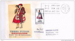 SPD TRAJE TIPICO BARCELONA CERTIFICADO AL DORSO MAT CARTERIA BARCELONA CERTIFICADO 1967 - Textiles