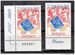 Monaco 2216 Variété Impression Décalée Vers Le Bas Haut Du Timbre Bleu Et Normal UPU  Neuf ** TB  MNH Sin Charnela - Errors And Oddities