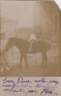 Photographie - Carte-Photo -  Garçon à Cheval Sur Poney - Photographie