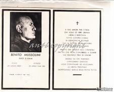 TESSERA ORIGINALE MORTE DI BENITO MUSSOLINI DUCE D'ITALIA_DOVIA 29 LUGL1883_DONGO 28 APR 1945-FASCIO LITTORIO IN RILIEVO - Documentos Históricos