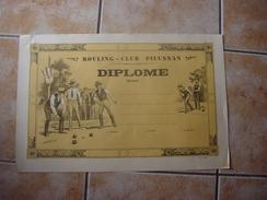 11 PIEUSSE - BOULING -CLUB DE PIEUSSAN - DIPLOME - Bowls - Pétanque
