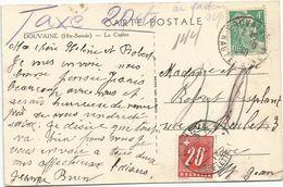 GANDON 4FR EMERAUDE SEUL CARTE DOUVAINE 11.10.1948 HAUTE SAVOIE POUR GENEVE TAXE 20C TARIF FRONTALIER RARE - 1945-54 Marianne Of Gandon