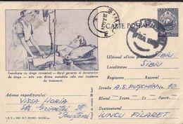 MEDICINE, BLOOD DONATIONS, NURSE, PC STATIONERY, ENTIER POSTAL, 1962, ROMANIA - Medicine
