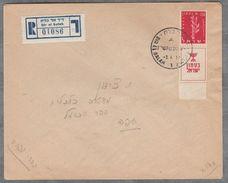 Lettre Israel 1957 Dir El Balah àTel-Aviv  Reccomandé Timbre Avec Tab - Cartas