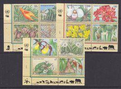 UNO 1996 NY, Geneva, Vienna Endangered Plants 3x4v ** Mnh (36903J) - Gezamelijke Uitgaven New York/Genève/Wenen