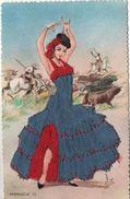 Danseuse Espagnole ( Carte Brodée) - Unclassified
