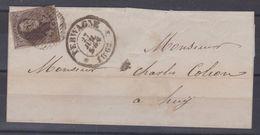 Belgique N°10 Lettre 27/07/1862 10C D77 TERWAGNE Margé Vers HUY TRES Rare - 1858-1862 Medaglioni (9/12)