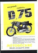 Publicité 1970 Env./ Prospectus Motobécane D 75 75cm3 à Pantin 93 ( Dos Vierge) - Publicités