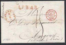 PAYS-BAS- Pli De Dordrecht Du 9 Août 1850 Pour Angers (FR) Port Dû, Taxe Manuscrite 15 Décimes - Marque L.P.B.4.R - TB - - Niederlande
