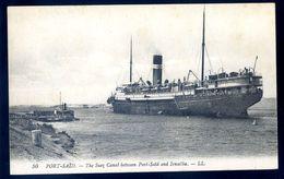 Cpa D' Egypte Port Saïd Le Canal De Suez Entre Port Saïd Et Ismaïlia   SEP17-37 - Port Said