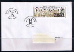 ATM, NABANCO IER, PLI, FDC, EC 0.71€, Centenaire De L'entrée En Guerre Des Usa, Gondrecourt Le Chateau. - 2010-... Geïllustreerde Frankeervignetten