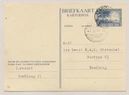 Nederlands Indië - 1947 - 3,5 Cent Briefkaart Strand Met Palmbomen, G75a Lokaal Gebruikt Bandoeng - Nederlands-Indië