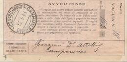 Campomarino. 1931. Annullo Guller CAMPOMARINO (CAMPOBASSO), Su Ricevuta Vaglia - 1900-44 Victor Emmanuel III
