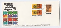 1971 Aug 10, SINGAPORE SINGPEX PHILATELIC EXHIBITION EVENT COVER  Stamps Music - Singapore (1959-...)