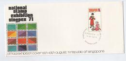 1971 Aug 9, SINGAPORE PHILATELIC EXHIBITION EVENT COVER  Stamps Piggy Bank  Pig - Singapore (1959-...)