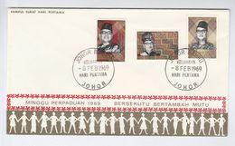 1969 MALAYSIA FDC Stamps SOLIDARITY  Malaya Cover - Malaysia (1964-...)