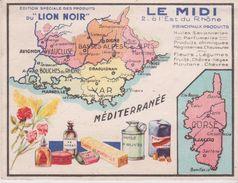Chromo 10x13 . Pub LION NOIR Carte Géo LE MIDI Dont CORSE  (Parfums, Savons, Huile D'olives, Bouchons - Geographie