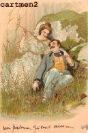 BELLE SERIE DE 6 CPA : COUPLE CHARME AMOUR FANTAISIE GAUFREE EMBOSSED 1900 - Couples