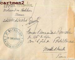 LETTRE GUERRE DU MAROC CACHET 2e REGIMENT DE ZOUAVES 2e BATAILLON MARCOPHILIE MILITARIA GUERRE DU RIF - Marcophilie (Lettres)