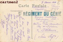 CACHET MILITAIRE 5e REGIMENT DU GENIE CAPITAINE 7e COMPAGNIE MARCOPHILIE MILITARIA GUERRE LAON BELGIQUE - Régiments